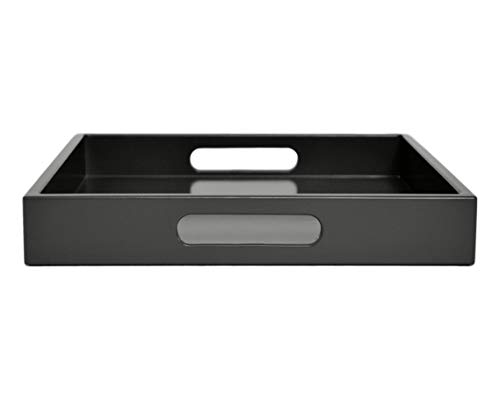 Dark Gray Ottoman Coffee Table Serving Tray with Handles Medium to Extra Large Oversize