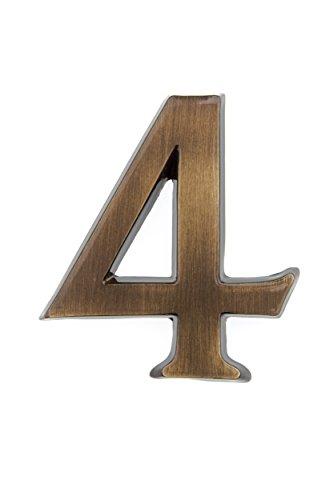 HUBER número de casa 4 de latón 10 cm I números de casa para puerta I número de casa 3D I placas de número de casa en latón antiguo noble diseño 3D