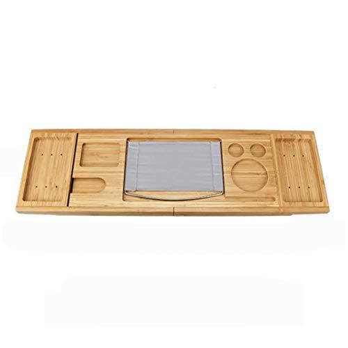 LWF Bañera Bandeja de bambú Extensible bañera de hidromasaje Caddie Puente Multifuncional Plataforma de baño teléfono de la Tableta Toalla de Velas sostenedor del jabón Copa de Vino