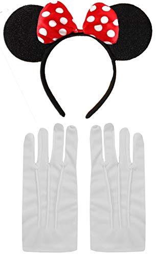 Minnie Mouse Disney kostuum, oorhoofdband en handschoenen, aantal