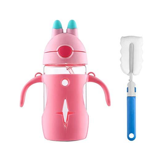 Manstro Botella de Agua para Niños con Pajita, Cristal de borosilicato con Funda Protectora PP, sin BPA, 300 ML