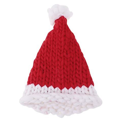 Amosfun weihnachtsmütze Winter Handgestrickte mütze häkeln weihnachtsmann Wolle warme mütze für Kinder Kinder (rot)