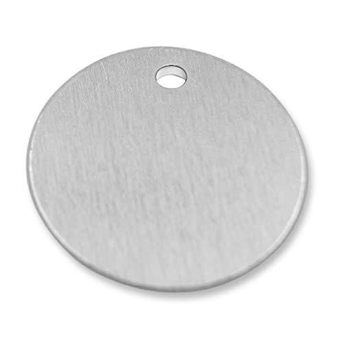 GazeKu 空白スタンプタグ 穴付き アルミニウム 0.032インチ (20GA) (1インチ丸) Pack of 25 1R0.8R-25 FBA