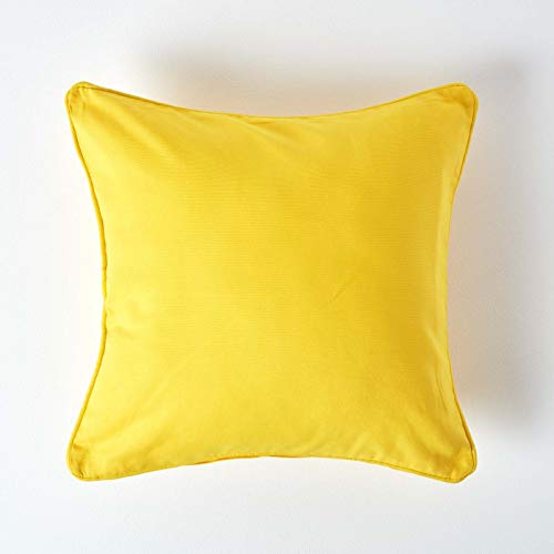 HOMESCAPES 100% Cotton Plain Yellow Cushion Cover 45 x 45 cm Square 18 x 18 Inches Bright Sunshine Yellow Cotton Cushion Cover with Zip Closure - Washable