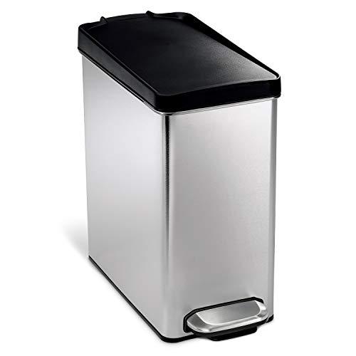 simplehuman, 10 Liter, profil Treteimer gebürsteter Stahl, gebürsteter Stahl, 5 Jahre Garantie
