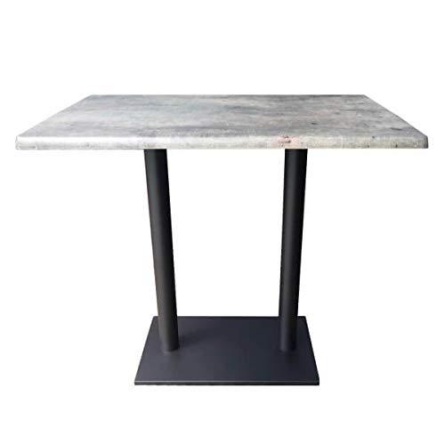 Meubletmoi Table Basse Ronde Pied m/étal Vintage Style Industriel Contemporain Plateau Effet Beton Luna 90