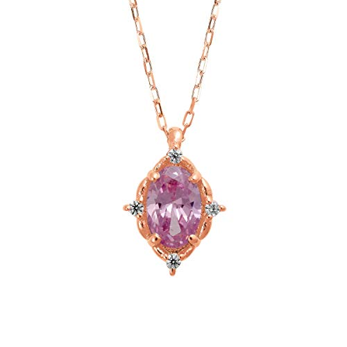 [ココカル]cococaru K18ピンクゴールド ガーネット ネックレス ダイヤモンド 0.02ct ペンダント 天然石 誕生石 カラーストーン 天然 ダイヤモンド 日本製