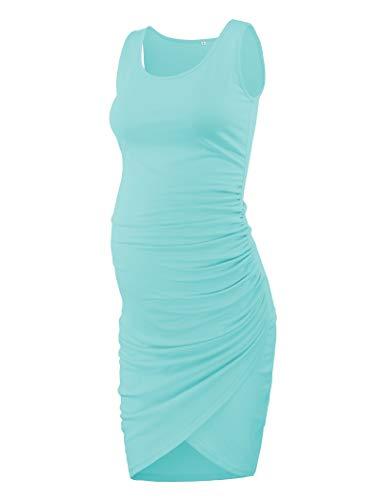 Ecavus Ärmelloses Tulpenkleid für Damen, Umstandsmode mit Rüschensaum, lässig, tailliert, Etuikleid - Grün - Mittel