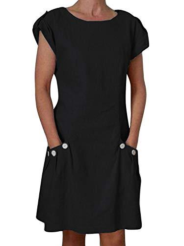 """Yidarton Damen Kleider Strand Elegant Casual A-Linie Kleid à""""rmellos Sommerkleider, Schwarz4, L"""