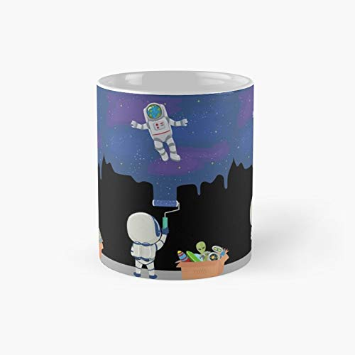 Young Kid Astronaut Painting The Galaxy With His Spaceship And Alien Toys Classic Mug - 11 Ounce For Coffee, Tea, Chocolate Or Latte.