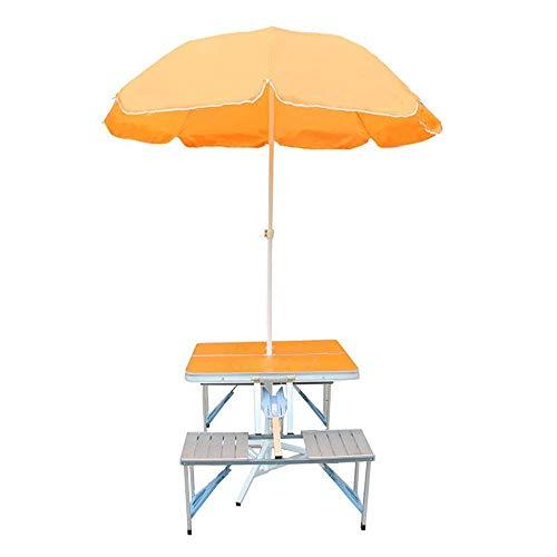 Tägliche Ausrüstung Tragbarer klappbarer Picknicktisch im Freien Einteiliger Tisch- und Stuhlsatz Klappbarer Camping-Tischsatz Aluminiumlegierung Tragbar mit 2,4 m Regenschirm und Sockel (Farbe: Or