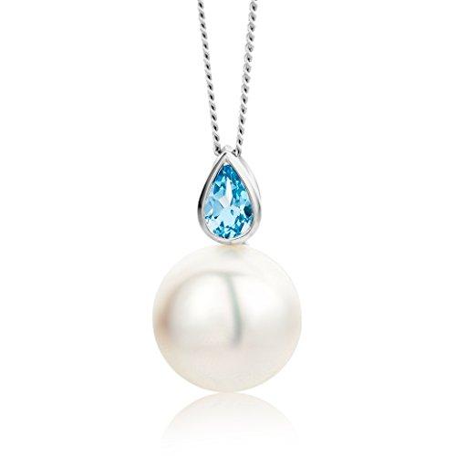 Miore Collar de Oro Blanco de 9K (375) con Topacio Azul y Perla Cultivada de Agua Dulce para Mujer, 45 cm