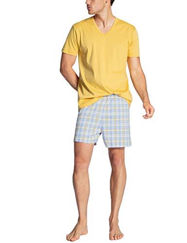 CALIDA Herren Relax Gentle Zweiteiliger Schlafanzug, Gelb (misted Yellow 064), Small (Herstellergröße:S)