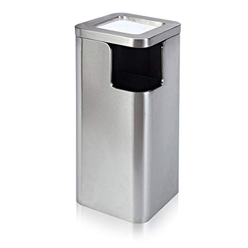 Mülleimer Platz Aschenbecher Papierkorb, Außen Trash Can, Ststainless Stahl Trash Can 2,6 Gallon, for Eingang/Balkon/Aufzug abfalleimer (Color : Sand Steel)