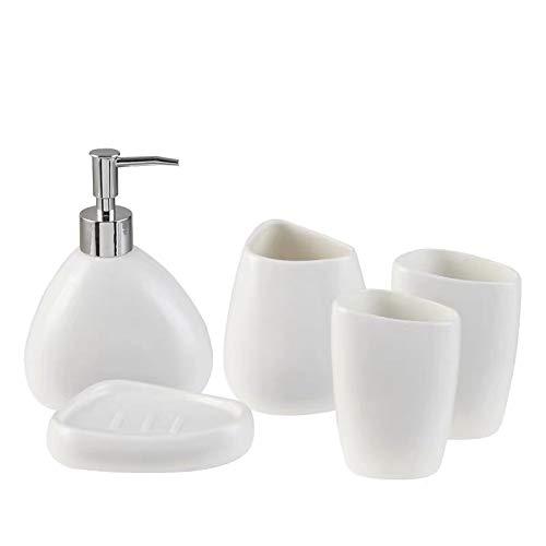 ZHQHYQHHX creativo porcellana ceramica mano lavaggio fluido bottiglia collutorio tazza accessori bagno set portaspazzolino accessori bagno set (colore: bianco, dimensioni: libero)