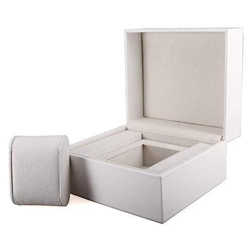 cajas de cartón para embalaje Caja de reloj Caja de joyería 1Grids Caja de exhibición de almacenamiento de reloj de cuero (Color: Blanco, Tamaño: 16X14X10CM) Caja de cartón de embalaje