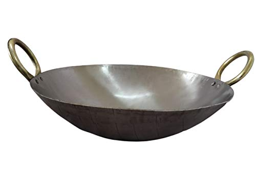 Craftenka Large Size Traditional Pure Iron Silver/White Kadai with Golden Handle Fry/Frying Pan Loha Lokhand Kadhai Wok 13 Inch / 34 cm, Silver