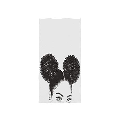 N/A Zwarte Vrouw met Krullen Handdoeken Zachte Zeer absorberende Grote Handdoeken 15 x 30 inch Vingertip Handdoeken Badhanddoek Multipurpose voor Hand Gezicht Badkamer Gym Hotel Spa
