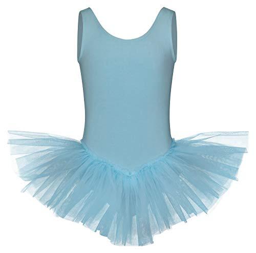 tanzmuster tanzmuster ® Ballettkleid Mädchen Tutu - Anabelle - aus weichem Baumwollmaterial Ballett Trikot mit Tuturock in hellblau, Größe:152/158