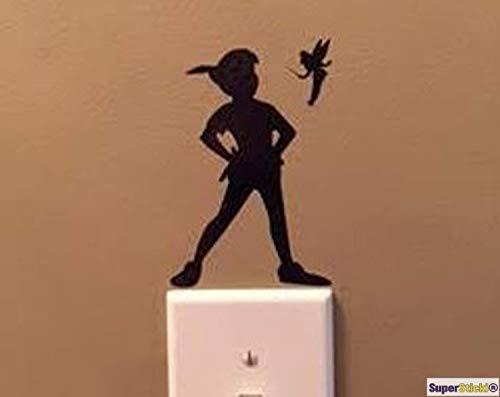 SUPERSTICKI wandtattoo stopcontact lichtschakelaar Peter Pan met kleine fee decoratie hobby decoratie thuis knutselen van high-performance folie sticker autosticker tuningsticker high-performance