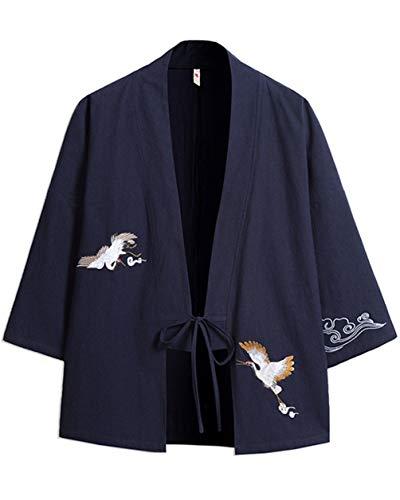 GUOCU Hombre Bordado Cloak Cárdigan Camisa Chaqueta de Kimono Japonesa Casual Armada M