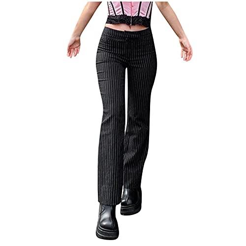 Eauptffy Anzughosen Elegant Hosen Damen Anzug Hose Geschäft Hohe Taille Stretch Skinny Lose Business Formal Freizeit Hose Gestreifte Frauen Freizeithose Sommerhose Leggings Straight Bein Sporthose