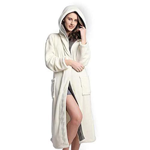 Winter Bademantel Für Frau Hoodie Frauen Soft Spa Ganzkörperansicht Warm Light Cashmere Plus Size Bademantel, Grau, S