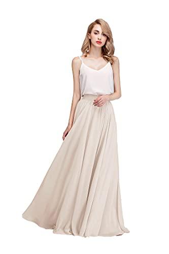 Honey Qiao Women's Chiffon Maxi Skirt Bridesmaid Dresses Long High Waist Floor/Ankle Length Elastic Woman Dresses with Belt Ivory
