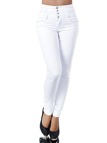 N867 Damen Jeans Hose Corsage Damenjeans High Waist Röhrenjeans Hochbund, Farben:Weiß, Größen:36 (S)