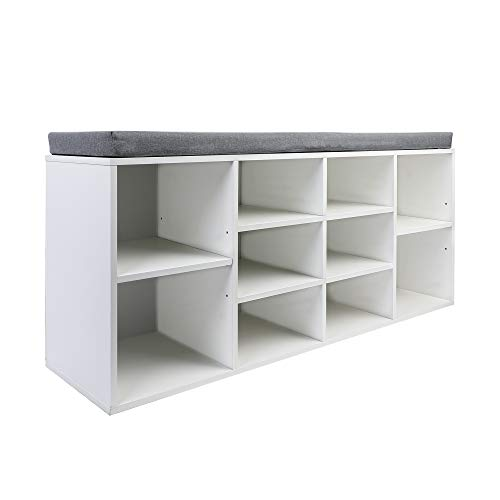 MU Shoe Storage Bench with Seating Cushion, Shoe Organizer Cabinet for Entryway, 10-Cubbies Shoe Bench with Adjustable Shelves, Hold up to 440 lbs, White
