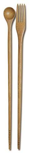 JapanBargain , Burnished Bamboo Cooking Chopsticks Spoon Fork for Deep Frying Shabu Hot Pot Noodles Taste N Cook, 13 inches Long