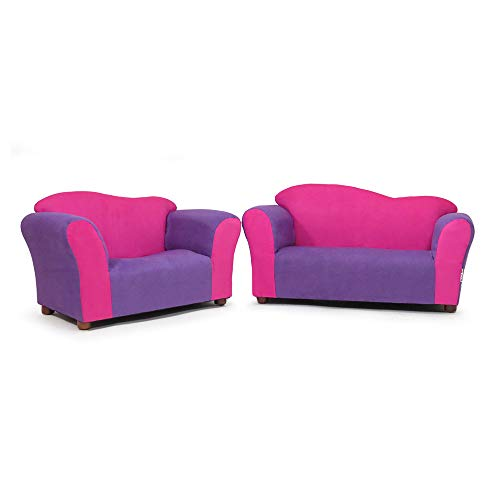 Big Sale Fantasy Furniture Sofa and Chair Wave Set, Pink/Purple