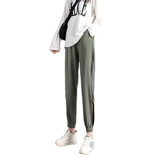 Primavera y Verano Moda Casual Cintura Alta Pantalones elásticos para Correr Entrenamiento Correr Viga pies Pantalones relajados con cordón X-Large