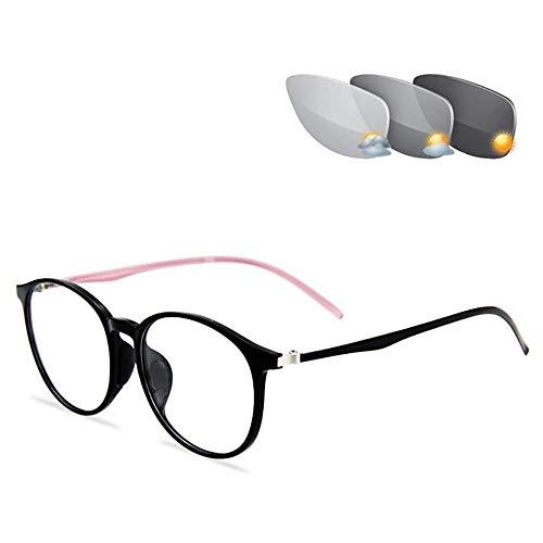 Gafas De Lectura Multifocales Progresivas, Gafas De Lectura Hiperópicas, Gafas De Sol De Transición Que Cambian De Color para Unisex,Rosado,+3.00