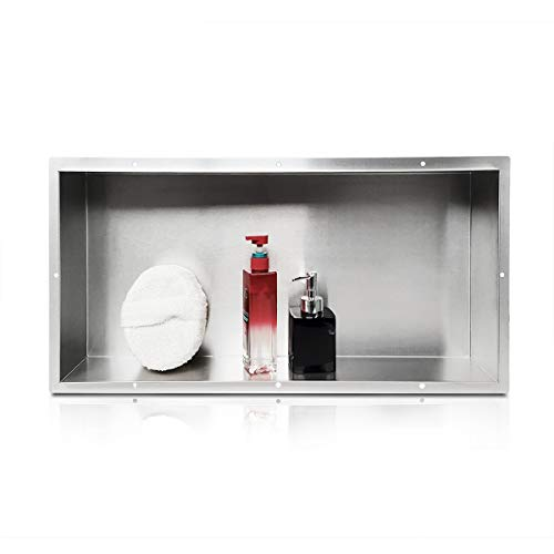 Stainless Steel Shower Niche Inwall 12' x 24', Single Recessed Shower Shelf, One Inner Shelf High End Materials, Modern and Elegant Design, Easy To install, Perfect for Shampoo and Soap Storage