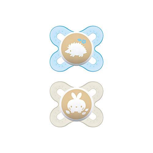 MAM Chupete Start S151 - Chupete extra pequeño para Recién Nacidos, Silicona SkinSoftTM ultrasuave, para Bebés de 0 a 2 meses, Azul (2 unidades) con caja auto Esterilizable, Versión Española