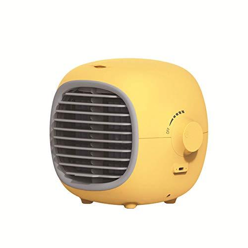Mini ventilador portátil, enfriador de aire, humidificador de aire acondicionado pequeño, ventilador de escritorio enfriado por agua, pulverización, hidratación, refrigeración, humidificación,Amarillo