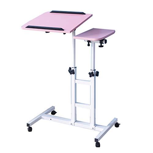 Side table-Q QFF-computertafel hef-klaptafel, notebook-laptoptafel met wielen, nachtkastje, kantoor-leerstandaard/roze, zwart bureau