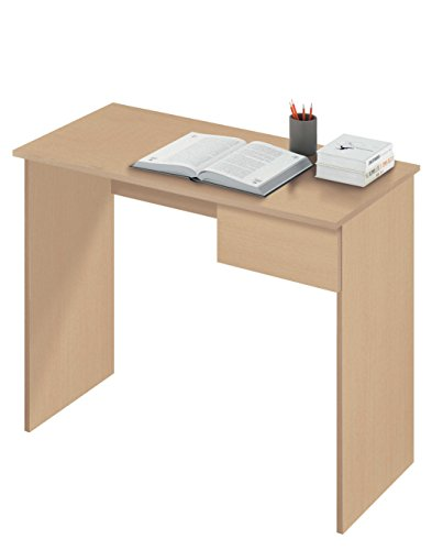 Abitti Escritorio Mesa de Ordenador Multimedia Color Roble con Cajón para Oficina, despacho o Estudio. 90cm Ancho x 75cm Altura x 50cm Fondo
