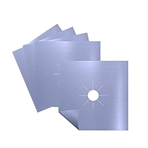 Gas kookplaat beschermer, 4 stuks herbruikbare aluminiumfolie gasfornuis brander deksel beschermer voering schone mat pad bestand verwondingen bescherming, grijs