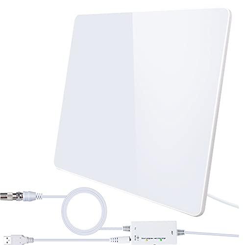 2021 Más Nuevo Amplificador de Antena TV Interior Potente,420KM Antena de TV Digital Interiores de Alcance con Amplificador Smart de Señal, para Canales de TV Gratis 1080P 4K,Cable Coaxial de 5M