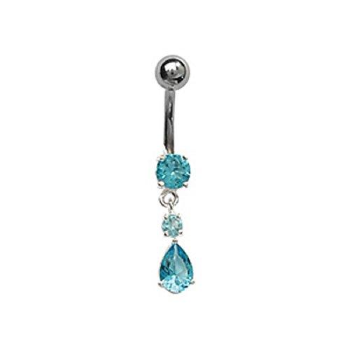 FranceBijoux - Piercing per ombelico, con pietra blu, in argento e asta in acciaio chirurgico