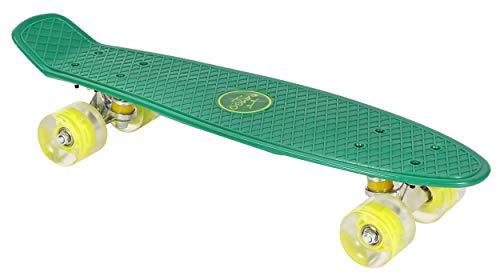 AMIGO Skateboard - Komplette Mini Cruiser - Skateboard für Anfänger, Kinder, Jugendliche und Erwachsene - mit Led Leuchtrollen und ABEC-7 Kugellager - 55 x 15 cm - Grün