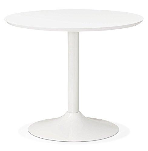 Alterego Petite Table de Bureau/à Diner Ronde 'BARABAR' Blanche - Ø 90 cm