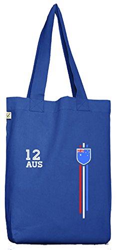 ShirtStreet Australia Soccer World Cup Fussball WM Fanfest Gruppen Bio Baumwoll Jutebeutel Stoffbeutel Streifen Trikot Australien, Größe: onesize,Bright Blue