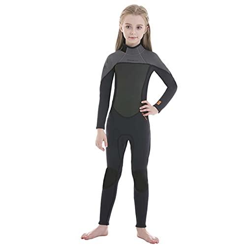 Traje de Neopreno de 2,5mm para Niños Y Niñas, Traje de Buceo de Surf de Invierno Ultra Stretch Completo De Una Pieza De Manga Larga Wetsuit,Gris,10