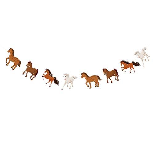 ABOOFAN Guirnalda de Caballos Banner Streamer de Carreras de Caballos Guirnalda de Fiesta de Caballos para Niños Cumpleaños Decoración de Fiesta de Boda Accesorios de Fotos