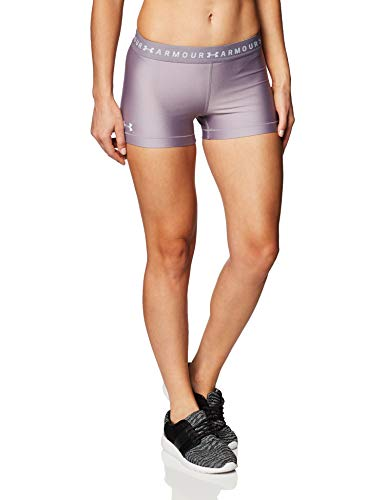 Under Armour Damen Shorty HeatGear Armour komfortable Sport Shorts mit Anti-Odor Technologie, schnelltrocknende Kurze Hose mit Kompression und 4-Way-Stretchstoff, Slate Purple/Halo Gray (585), 2XL