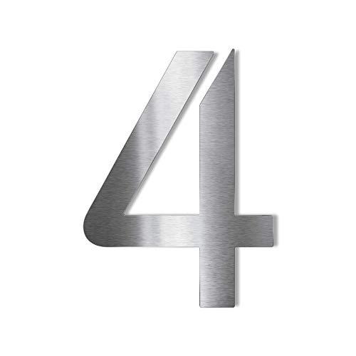 Metzler Edelstahl Hausnummer – modernes Design - wetterfest & pflegeleicht - Schrift Bauhaus - Steckdübel – Höhe 14 cm - Ziffer 4