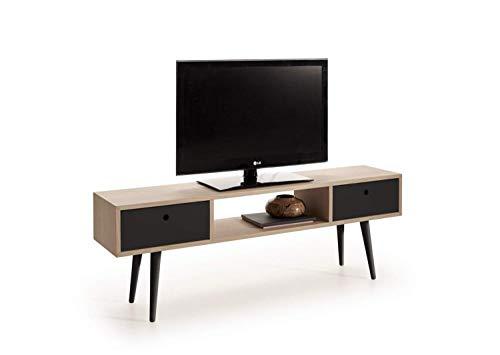 HOGAR24 ES Mueble TV Madera Roble Natural Chapado diseño Vintage, Mesa Baja TV con cajones, Color Roble-Negro. Medidas; 140 x 30 x 48 cm…